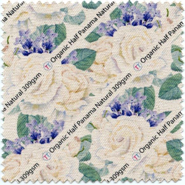 Natural shade organic printed cotton fabric